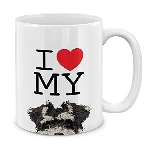 (MUGBREW I Love My Schnauzer Puppy Dog Ceramic Coffee Gift Mug Tea Cup, 11 OZ)