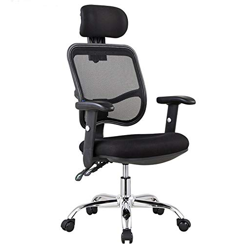 LJHA Swivel Chair, Mesh Ergonomics Computer Jobs Chair Lounge High Back Chair with Lifting Handrails and Headrest - Lifting/Reclining/Adjustment Leisure Chair (Color : Black)