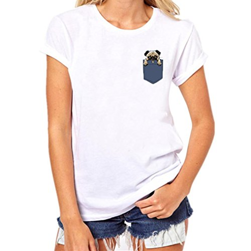 Price comparison product image Fheaven Women Dog In the Pocket Printing Tees Shirt Short Sleeve T Shirt Blouse (s, White)