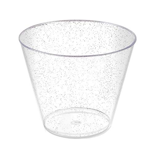 100 Count 9oz Disposable Silver Glitter Clear Plastic Cup/Old Fashioned Tumblers/Wedding Cups/Party Cocktail Cups