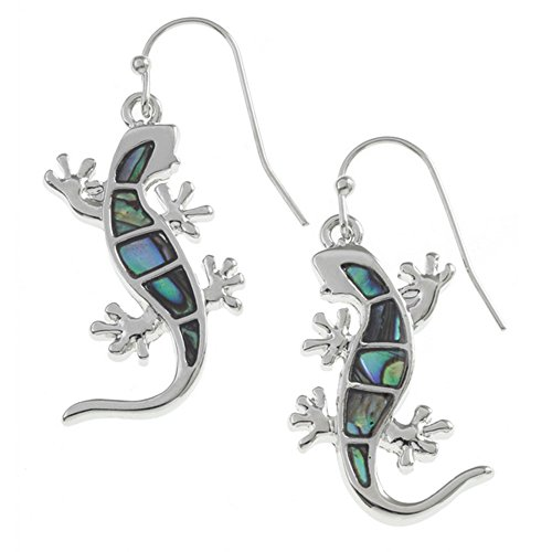 Liavy's Gecko Lizard Fashionable Earrings - Fish Hook - Abalone Paua Shell - Unique Gift and Souvenir ()