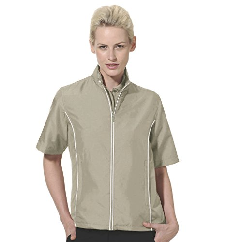 Monterey Club Ladies Half Sleeve Microfiber Dobby Water Repellent Windshirt #2763 (Khaki/White, Medium)