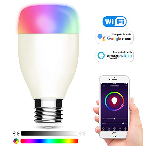 Smart WiFi LED Light Bulbs 6000K E27 Dimmable Colored Smartphone Controlled Daylight White Night Light Lamp, No Hub Required, Compatible with Amazon Alexa Echo, Google Home Assistant (Lamp Colored)