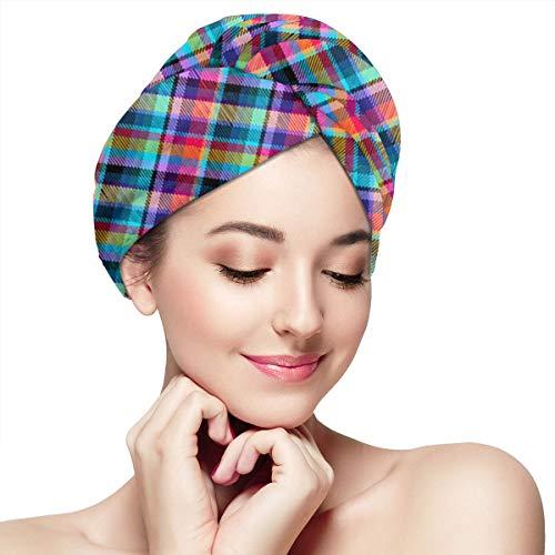 Madras Plaid Tropical Tartan Microfiber Hair Towel Wrap With Button Quick Dry Hair Turban For Women Girls