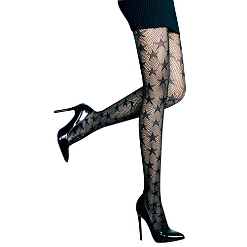[Rosemarie Collections Women's Star Pattern Stockings Fishnet Tights (L/XL)] (Best Halloween Costumes For Moms)