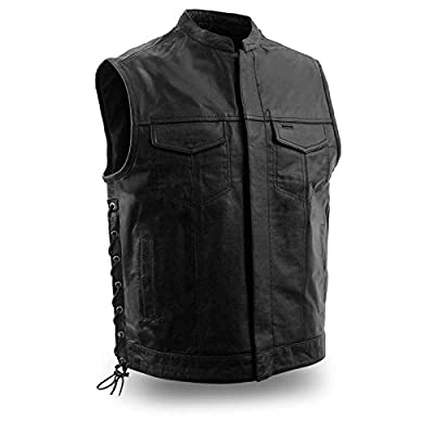 First Mfg Co Sniper Men's Leather Motorcycle Vest (Black, Medium)