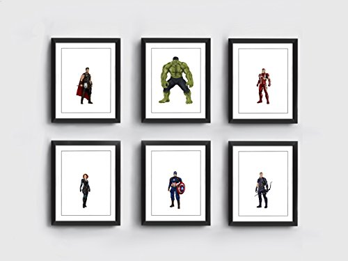 Avengers Art Prints | Set of 6 | Thor | Hulk | Iron Man | Black Widow | Captain America | Hawkeye | Hand Drawn by armchair illustration