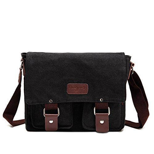 Amazon.com: Sechunk Small Retro Cotton Canvas Messenger Bag ...