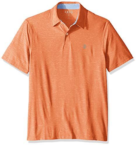 IZOD Men's Golf Title Holder Short Sleeve Polo Shirt, Melon Large