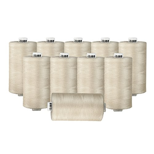 Connecting Threads 100% Cotton Thread Sets - 1200 Yard Spools (Natural - Set of 10)