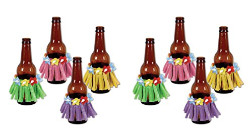 (Beistle S50044AZ2, 8 Piece Drink Hula Skirts, 3.5