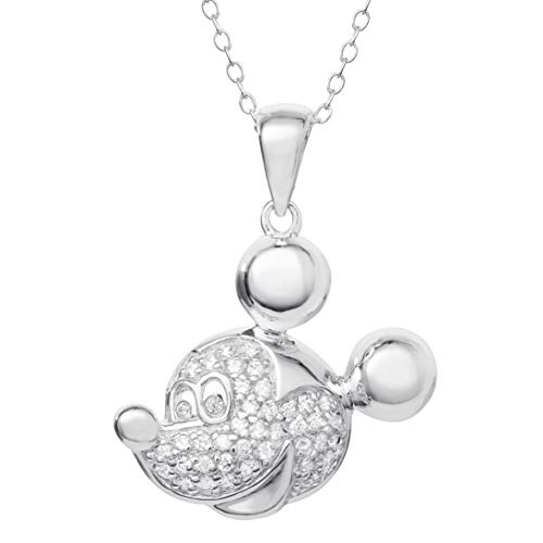 Disney Mickey Mouse Jewelry for Women and Girls,Sterling Silver Pave Cubic Zirconia Pendant Necklace, 18