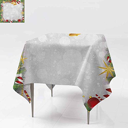 (AndyTours Washable Square Tablecloth,Christmas,Xmas Eve Carol Theme Frame Pine Spikes Candy Jingle Hand Bells and Ribbon Image,Dinner Picnic Table Cloth Home Decoration,60x60 Inch Multicolor)