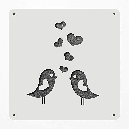 (Stencil Large 12 Inch Love Birds Love-Birds Animal Hearts Couple Conversation Plastic Mylar Stencil Painting, Walls, Crafts, Signs, Item 1117707)