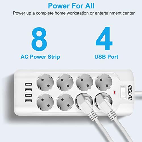MBLAI Multiprise,Multiprise Electrique USB avec 8 Prises 4 Ports USB,(3000 W/13 A) Cordon de 2m Multiprise Pare Foudre Parafoudre pour Maison, Bureau, Smartphone with 1 Clips Câbles Durables