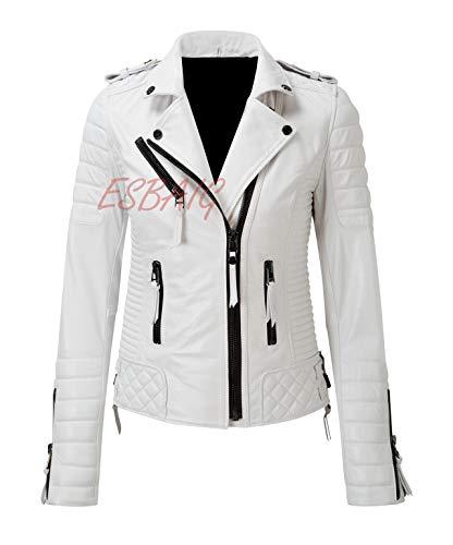 (Womens Leather Jackets Stylish Motorcycle Bomber Biker Real Lambskin Leather Jacket for Women 524 XXL White)