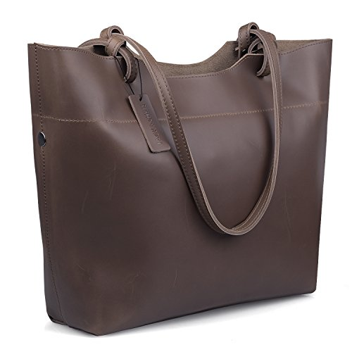 Jack&Chris Retro Women's Tote Genuine Leather Handbags Shoulder Bags,YSZ105 (coffee)
