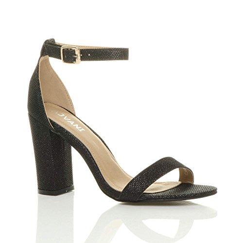 aperta con Scintillio scarpe blocco cinturino Luccicare alto sandali fibbia Nero tacco punta taglia Donna 8WYwqxCHUO
