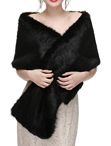 Decahome Wedding Faux Fur Wraps and Shawls Wedding Bridal Stole for Brides and Bridesmaids Black Mink Fur (Shawl Formal Fur Black)