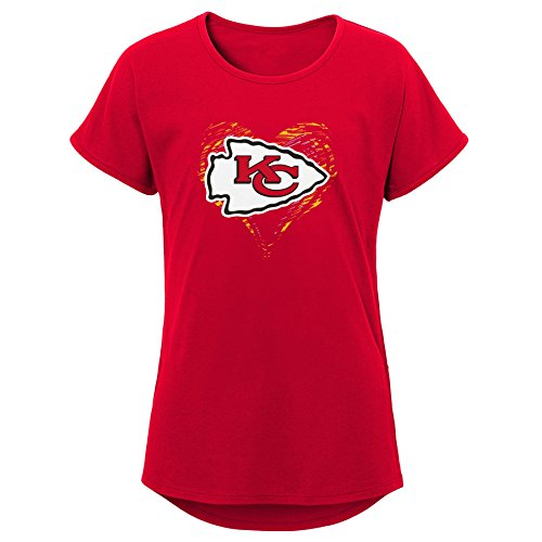 (Outerstuff NFL NFL Kansas City Chiefs Youth Girls Sonic Heart Short Sleeve Dolman Tee Red, Youth Large(14))