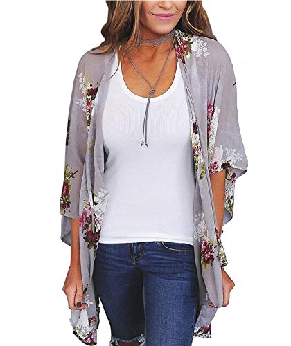 Women's 3/4 Sleeve Floral Kimono Casual Cardigan Sheer Loose Shawl Chiffon Beach Cover Up (B-Lavender Gray, M)