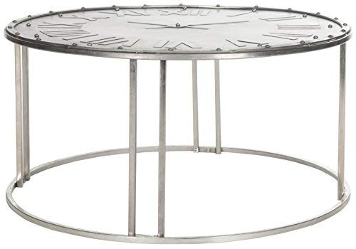 Safavieh Home Collection Roman Clock Dark Silver Cocktail Table, White