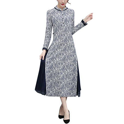 510d1a4c4 VENI MASEE 2018 Women's Vintage Style Printed Two Layer Qipao Cheongsam Slim  Long Dress: Amazon.co.uk: Clothing