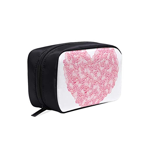 (Valentine's Day Logo Shape Portable Travel Makeup Cosmetic Bags Organizer Multifunction Case Small Toiletry Bags For Women And Men Brushes Case)