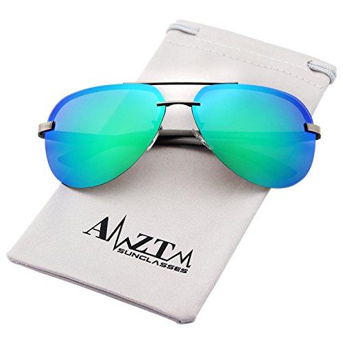 AMZTM Classic Fashion Aviator Polarized Sunglasses For Women and Men Double Bridge Metal Frame Mirrored Reflective REVO Lens Driving Glasses 100% UV400 Protection (Grey Frame Green Lens, - Trend Sunglasses Reflective