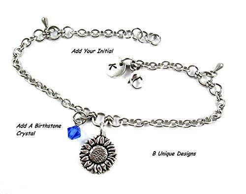 (Sunflower, Daisy, Rose or Hibiscus Summer Garden Charm Anklet Stainless Steel Chain Mail Jewelry Add Personalized Initial or Birthstone)