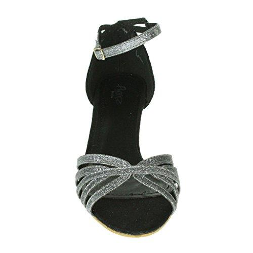 Mujer Señoras Sparkly Correas Punta abierta Dos partes Tacón de gatito Noche Boda Fiesta Nupcial Sandalias Zapatos Talla Negro