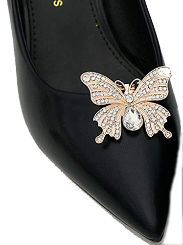 Lauthen.S 1 Pair Rhinestone Butterfly Wedding Shoe Clips Bride Party Shoe Decoration(Style L,Gold)