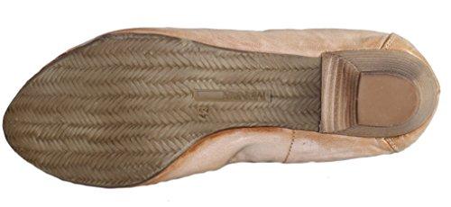 Manas 121D1509T - Zapatos de Vestir de Piel Para Mujer Beige Beige Talco Miele