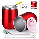 Spill Proof Wine Tumbler with Lid and Straw, FUNCUBE 12oz Stainless Steel Double