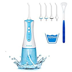 Water Flosser Professional Cordless Dental Oral Irrigator - 320ML Portable and Rechargeable IPX7 Waterproof 3 Modes Water Flosser with Cleanable Water Tank for Home and Travel