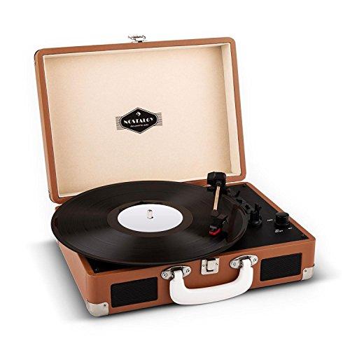 Auna-Peggy-Sue-Giradischi-per-vinili-vintage-con-valigetta-portatile-ed-altoparlanti-integrati-2-casse-USB-3-misure-per-i-dischi-marrone