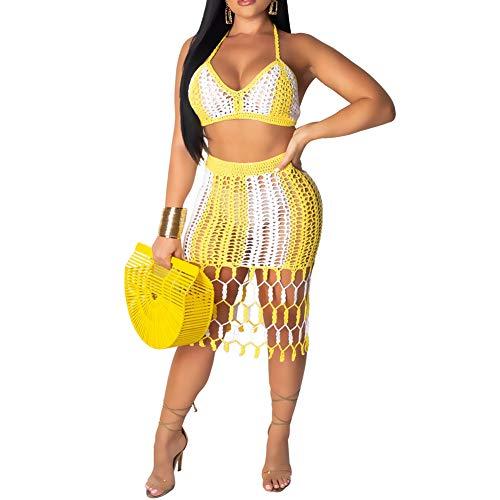 acelyn Women's Crochet Summer Beach Cover up Fringe Dress Bikini Top + Mini Skirt Set 2 Piece Outfits Yellow Medium