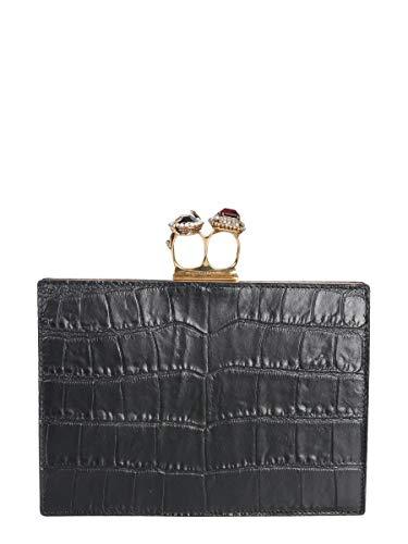 Alexander Mcqueen Women's 554151Dzt0t1000 Black Leather Clutch
