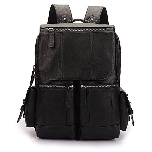 Mochilas de senderismo, bolsas, bolsas de senderismo, bolsas al aire libre, impermeable Bolso de Hombro de ocio al aire libre del hombre Pu mochila mochila,negro Black