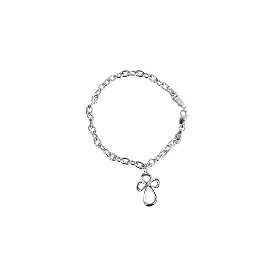 Sterling Silver Jessica Simpson Diamond Accent Charm Cross Bracelet