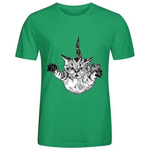 Striped Gangster Shirt (Falling Kitten Mens Crew Neck Diy T Shirts Green)