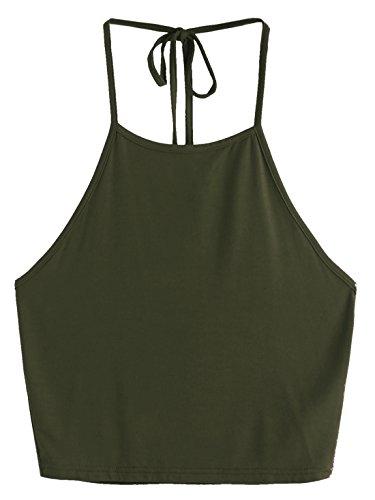 Romwe Women's Casual Vest Tee Sleeveless Vest Halter Cami Tank Top Green S - Green Halter Top Shirt