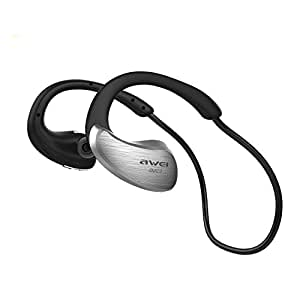 Bluetooth Headphones Wireless In-Ear Sports Earbuds V4.1 Stereo Music Noise Isolating Sweatproof Headset with Volume Control Mic and Soft Security Hooks Awei A885BL (Grey)