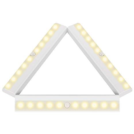 LiveComfort - Lote de 3 sensores de movimiento para armario inalámbrico, 10 bombillas LED, pegamento y funciona con pilas 1.00W, 6.00V