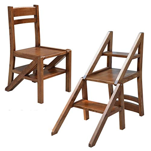 AINIYF 3 Tier Folding Step Stool Multi-Functional Ladder Chair Bench Seat Utility/Brown/18.7x17x43.4inches