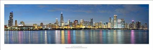 Chicago Sunset Panoramic Art Print Poster