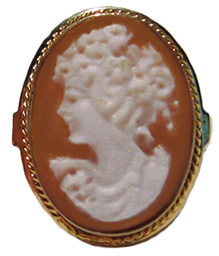 - Cameo Ring Master Carved, 925 Sterling Silver 18k Gold Overlay Sardonyx Shell Size 7.5 Italian