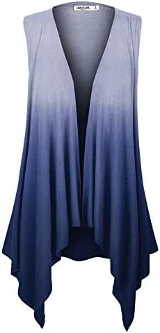 LL Womens Lightweight Sleeveless Ombre Open Front Cardigan Vest - Made in USA