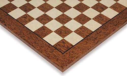 Brown Ash Burl & Erable High Gloss Deluxe Chess Board - 1.75