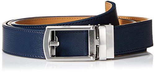 (Comfort Click Men's Adjustable Perfect Fit Leather Belt-As Seen on TV, Navy/Brushed Nickel - Pebble, ONE SIZE)